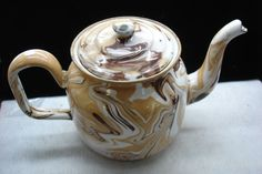 ANTIQUE BROWN & WHITE SWIRL, END OF THE DAY GRANITE WARE, ENAMELWARE TEAPOT