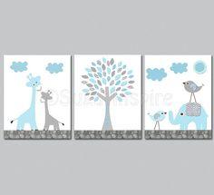 Aqua and grey Nursery Art Print Set Kids Room by SugarInspire, $39.95