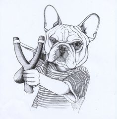 Sketchbook page of a French Bulldog by Jeroen Teunen, The Dog Painter. For Custom Dog Portraits visit:www. blackspecs.de