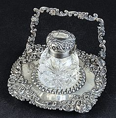 Sterling & Cut Glass Ink Stand by Hamilton & Diesinger, U. Vintage Silver, Antique Silver, Isabelle, Fountain Pen Ink, Writing Instruments, Cut Glass, Vintage Antiques, Lost Art, Bronze