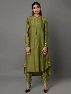 Olive Green Bamberg Linen Tunic with Pants - Set of 2 By Ritu Jain Singh Silk Kurti Designs, Salwar Designs, Blouse Designs, Pakistani Dresses, Indian Dresses, Indian Outfits, Indian Attire, Indian Wear, Indian Designer Outfits