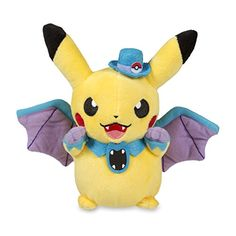 Golbat Costume Pikachu Poké Plush (Standard Size) - 7 1/2    Costume Pikachu is putting on its best Golbat outfit, complete with tiny fangs! This official Pokémon plush is super cute, with little wings and a tiny top hat marked with a Poké Ball symbol. The wings are embroidered with purple lines and really look nice around Pikachu's tail! A Pokémon Center Original!    Item Dimensions:    4.50 inches (W)    7.50 inches (H)    6.00 inches (L)  