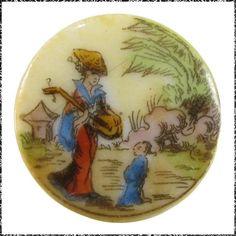 Antique Porcelain Button - Woman w/ Musical Instrument, Toddler, Asian Scene