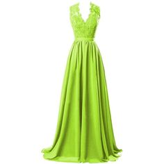 R&J Women's V-neck Open Back Lace Chiffon Formal Evening Party Dress ($44) ❤ liked on Polyvore featuring dresses, green dress, special occasion dresses, holiday cocktail dresses, lace cocktail dress and lace dress