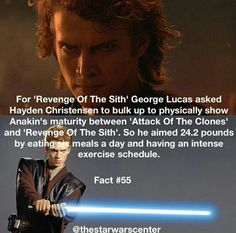 He is more muscular in Revenge of the Sith. Also his voice is deeper, I noticed. Star Wars Jokes, Star Wars Facts, Star Wars Clone Wars, Star Trek, Fun Facts, Movie Facts, Crazy Facts, Star Wars Baby, The Force Is Strong