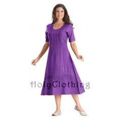 Andra Victorian Lace Renaissance Embroidered Tea Length Dress - Dresses