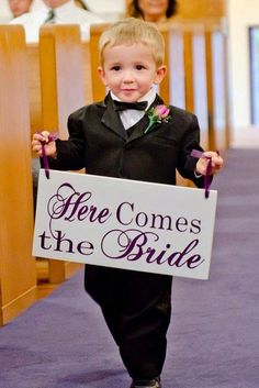 Wedding Signage. Here Comes the Bride with and they lived Happily ever after. 8 X 16 inch., 2-Sided Bridal Sign, Flower Girl, Ring Bearer.