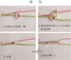 Chinese Knotting of Basic Level-Snake Knot (and its application in bracelets) – Makramè – Home crafts Macrame Bracelet Patterns, Diy Friendship Bracelets Patterns, Handmade Bracelets, Bracelet Knots, Bracelet Crafts, Wrap Bracelet Tutorial, Stone Wrapping, Bijoux Diy, Jewelry Making Tutorials