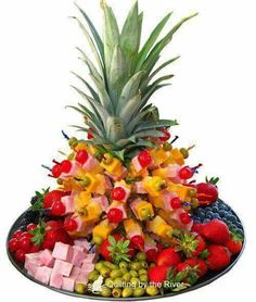 meat fruit and veggie tray Fruits Decoration, Decorations, Luau Food, Fruit Creations, Party Trays, Beautiful Fruits, Tailgate Food, Fruit Arrangements, Veggie Tray