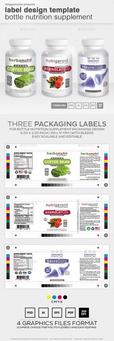 Label Design Bottle Nutrition Supplement Template PSD, Vector EPS, AI. Download here: http://graphicriver.net/item/label-design-template-bottle-nutrition-supplement/14837942?ref=ksioks