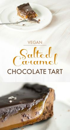 Salted Caramel Chocolate Tart - Birthday Fun | Produce On Parade - Creamy coconut caramel poured into a rich, chocolate crust all topped with a luxurious dark chocolate ganache and sprinkled with flake salt.