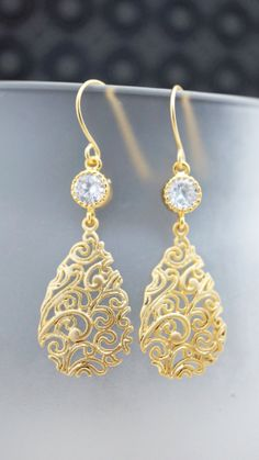 Earrings Elegant Gold and Crystal lace filigree by VerdigrisGifts, $26.00