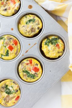 Try these easy, healthy veggie egg muffins with sautéed onion, mushrooms, bell pepper and spinach to fuel your morning routine!