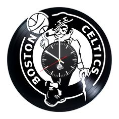 Boston Celtics Jersey Handmade Vinyl Record Wall Clock Fan Gift - VINYL CLOCKS