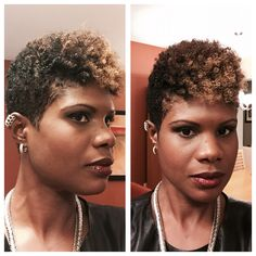 Ear cuff, diamond earrings, and Whiting and Davis necklace Tapered Undercut, Undercut Natural Hair, Tapered Natural Hair Cut, Big Chop Natural Hair, Natural Hair Cuts, Natural Hairstyles, New Hair Do, Cut My Hair, Short Curls