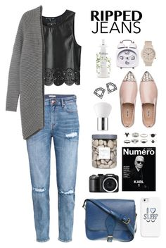 """""""#Ripped Jeans"""" by itsmytimetoshinecoco ❤ liked on Polyvore featuring Louis Vuitton, H&M, Monki, Miu Miu, Threshold, Estée Lauder, Casetify, Topshop, philosophy and Myia Bonner"""