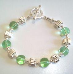 Green Bracelet Green and Silver Beaded by BeadJewelryByAnita