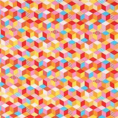 Tissu Oxford avec des cubes roses, jaunes, rouges, multicolores oar Kokka