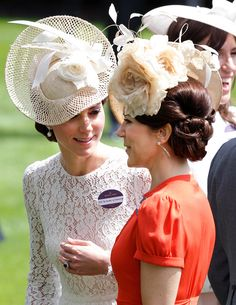 Catherine, Duchess of Cambridge, wearing Dolce & Gabbana dress & Jane Taylor millinery and Crown Princess Mary of Denmark, wearing Marc Jacobs orange dress with Jane Taylor hat, Royal Ascot 2016 - Day 2 Crown Princess Mary, Prince And Princess, Princess Kate, Princess Charlotte, Duchess Kate, Duke And Duchess, Duchess Of Cambridge, Prince Frederik Of Denmark, Danish Royal Family