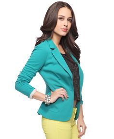 Love this teal jacket and yellow pants