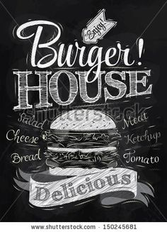 Poster lettering Burger House painted with a hamburger and inscriptions stylized drawing with chalk on blackboard.  http://www.shutterstock.com/ru/pic-150245681/stock-photo-poster-lettering-burger-house-painted-with-a-hamburger-and-inscriptions-stylized-drawing-with-chalk.html?src=Nx7XWgS8zT0bkjJw1UAaKw-5-86