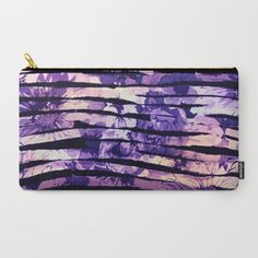 purple floral stripes Carry-All Pouch