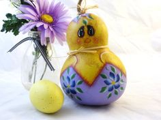 Easter  baby chick gourds decoration handpainted by KaoriKreations, $19.00