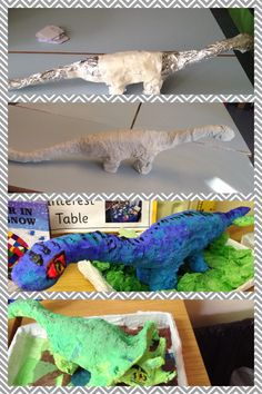 Stages to create a mod rock dinosaur model