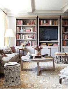 design home design room design house design Living At Home, Living Spaces, Cozy Living, Coastal Living, Living Area, Living Rooms, Bookshelves With Tv, Bookcases, Book Shelves