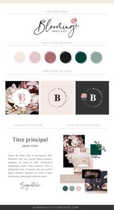 Branding Kit, Branding Design, Logo Design, Luxury Business Cards, Business Logo, Logo Fleur, Brand Manual, Creative Web Design, Flower Logo