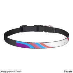 Wavy Dog Collar  Available on many more designs! Type in the name of this design in the search bar on my Zazzle Products page!  #dog #pet #buy #sale #zazzle #forsale #cool #chic #modern #contemporary #abstract #abstraction #color #red #blue #purple #line #accessory #accessories #supplies #supply #collar