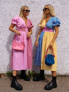 Colourful Outfits, Colorful Fashion, Cool Outfits, Fashion Outfits, Pastel Fashion, Look Rose, Gingham Dress, Romper With Skirt, Aesthetic Clothes