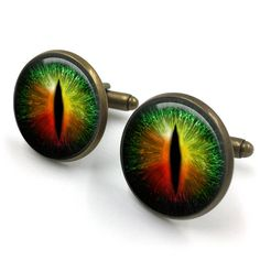 Green And Orange Dragons Eye Cufflinks| Dragons Eyes| Fantasy| Dragon| cufflinks| gifts for him| gifts for groom| boyfriend gift