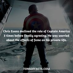 Chris Evans declined the role of Captain America 3 times before finally agreeing. He was worried about the effects of fame on his private life.  #captainamerica #theavengers #comics #marvel #interesting #fact #facts #trivia #superheroes #memes #1