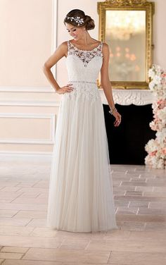 Wedding Dresses : Wedding Dress by Stella York Spring 2017 Bridal Collection Lace Wedding Dress, Dream Wedding Dresses, Bridal Dresses, Flower Girl Dresses, Dresses Dresses, Tulle Wedding, Column Wedding Dresses, Wedding Dressses, Vintage Dresses