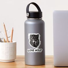 """""""Lone Wolf"""" Sticker by Joshua1870   Redbubble Lone Wolf, Lonely, Water Bottle, One Man Wolf Pack, Water Flask"""