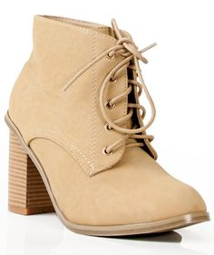 New Nature Breeze Avery Leatherette Almond Toe Lace Up Stacked Bootie BEIGE #NatureBreeze #FashionAnkle