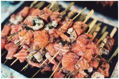 Animation culinaire pour votre mariage : Plancha   (Brochettes saumon et gambas marinées)