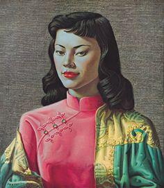 Miss Wong by Vladimir Tretchikoff Kitsch Art Postcard Kitsch Art, South African Artists, Vintage Art Prints, Of Wallpaper, Dieselpunk, Canvas Art Prints, Framed Canvas, Framed Prints, New Art