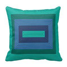 Modern rectangles shades of blue, green Art design Pillow