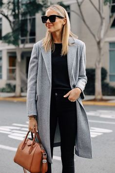Fashion Jackson Wearing Topshop Grey Coat Black Sweater Black Skinny Jeans Tan S. -You can find Topsho. Topshop, Mantel Outfit, Long Grey Coat, Black Winter Coat, Gray Coat, Long Wool Coat, Black Wool Coat, Long Winter, Winter Coats