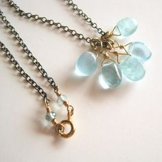 Aquamarine Pebble Necklace / Kahili Creations