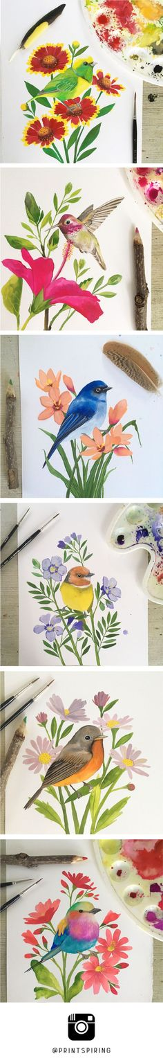 Dee from PRINTSPIRING is painting a watercolor and gouache alphabet of birds and flowers! G is for Golden Brown Cholorophonia and Gaillardia. H is for Hummingbird and Hibiscus. I is for Indigo Flycatcher and Ixia. J is for Johnson's Tody Tyrant and Jacob'