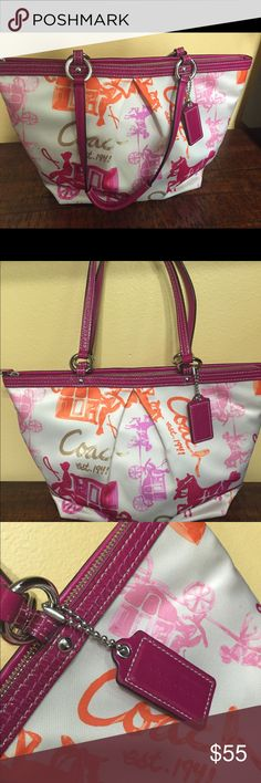 Authentic Coach Horse&Carriage Tote Bag Horse & Carriage Sateen Cream/pink Tote Shoulder Bag. Great condition- slight wear on bottom, pictured.  Note id to check authenticity. Coach Bags Totes