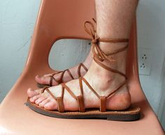 Greek sandals lace up flat W11 / M9.5 by wilderalison on Etsy, $48.00