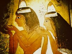 Women (those born to the upper classes of society) wearing cones of grease or wax on their heads. These cones would slowly melt in the Egyptian heat, bathing the wearer's head, shoulders, and arms in the perfumes held in the cone, and leaving the skin oily and glistening. Luckily, most Egyptians shaved their heads and wore wigs, so they could easily remove their hair for cleaning.