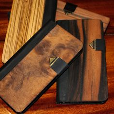 Handmade KaSed Timber / Wood / Wooden Samsung Galaxy S6 and S6 EDGE Phone Wallet Case Genuine Leather