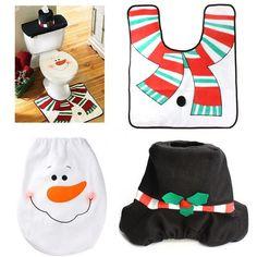 Creative 3pcs/lot Christmas Decoration For Home Santa Toilet Seat Cover Rug Bathroom Christmas Festival Ornament