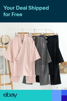 Women Men 100% Cotton Loose Japanese Kimono Robe and Pants Set Pajamas  Sleepwear 0942d702c
