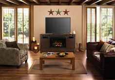 Dimplex Austin Media Cabinet with Firebox Basement Fireplace, Fireplace Tv Stand, Living Room With Fireplace, Fireplace Ideas, Dimplex Electric Fireplace, Hanging Barn Doors, Brown Image, Infrared Heater, Media Cabinet